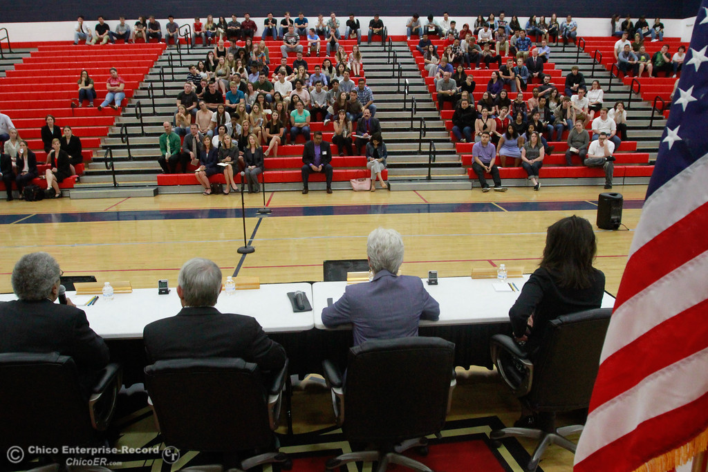 . High School students sit in the bleachers after the Third Appellate Court of California reviews two cases Wednesday, April 25, 2018, in Oroville, California. The court heard oral arguments from lawyers at Las Plumas High School as part of  (Dan Reidel -- Enterprise-Record)