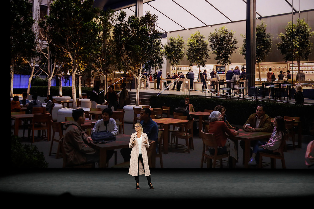. Angela Ahrendts, Apple\'s Senior Vice President of Retail, discusses updates at Apple Stores before a new product announcement at the Steve Jobs Theater on the new Apple campus on Tuesday, Sept. 12, 2017, in Cupertino, Calif. (AP Photo/Marcio Jose Sanchez)