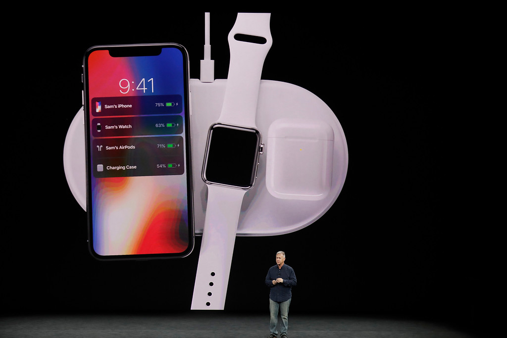 . Phil Schiller, Apple\'s senior vice president of worldwide marketing, discusses features of the new AirPower product at the Steve Jobs Theater on the new Apple campus on Tuesday, Sept. 12, 2017, in Cupertino, Calif. (AP Photo/Marcio Jose Sanchez)