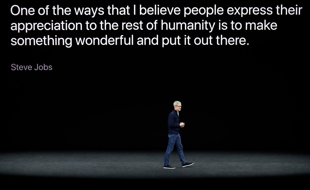 . Apple CEO Tim Cook, wraps up a new product announcement presentation at the Steve Jobs Theater on the new Apple campus on Tuesday, Sept. 12, 2017, in Cupertino, Calif. (AP Photo/Marcio Jose Sanchez)