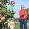 Sholan Farms Mike Meehan farm manager and President Joanne Dinardo talk about the realities of apple poaching at the orchard on Tuesday afternoon in Leominster. SENTINEL & ENTERPISE/JOHN LOVE