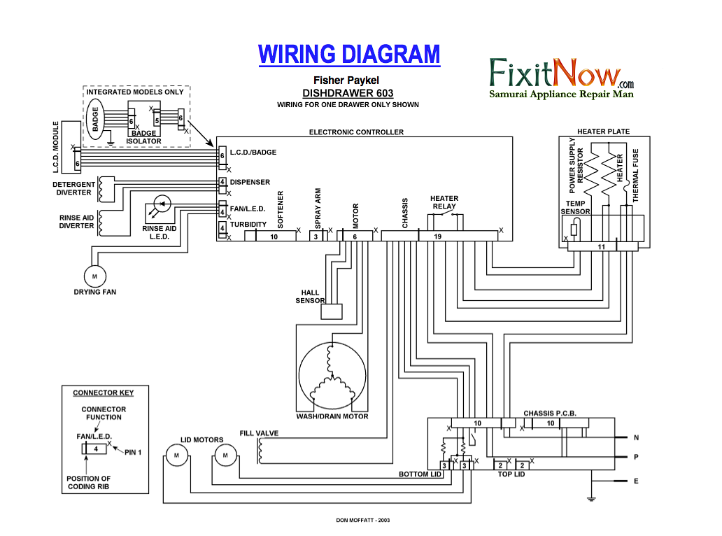 Fisher Paykel DD603 Dishdrawer Wiring Schematic