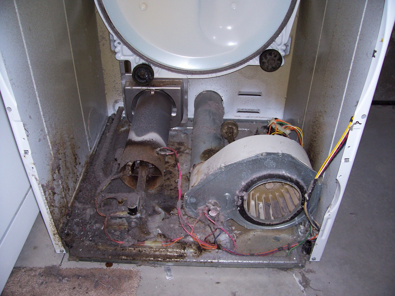Amana Dryer Guts, Before Cleaning