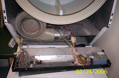 Blower and Control Panel in a Frigidaire Stack Laundry Dryer