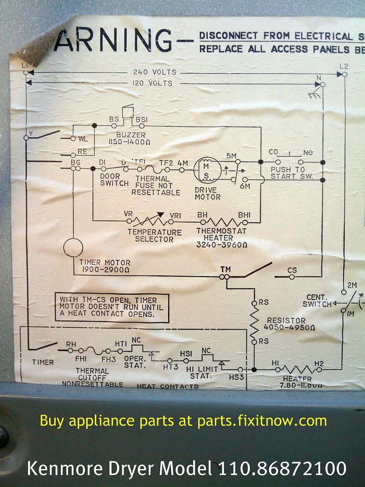 Kenmore Dryer Model 110.86872100 Schematic Diagram