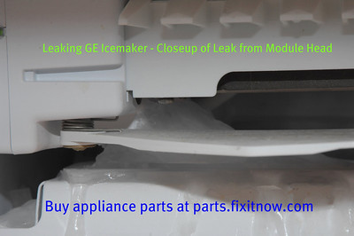 Leaking GE Icemaker - Closeup of Leak from Module Head