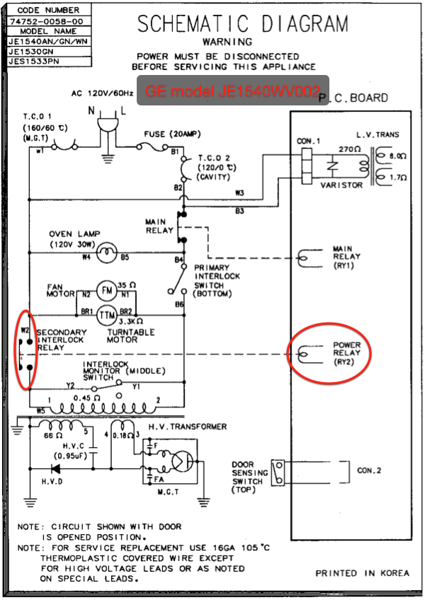 microwave ovens appliantology GE Microwave Schematic Diagram