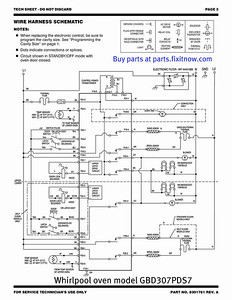 Whirlpool oven model GBD307PDS7 schematic