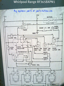 Whirlpool Range Model RF365BXPN1 Wiring Diagram