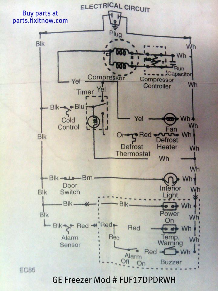 GE Freezer Mod # FUF17DPDRWH Schematic