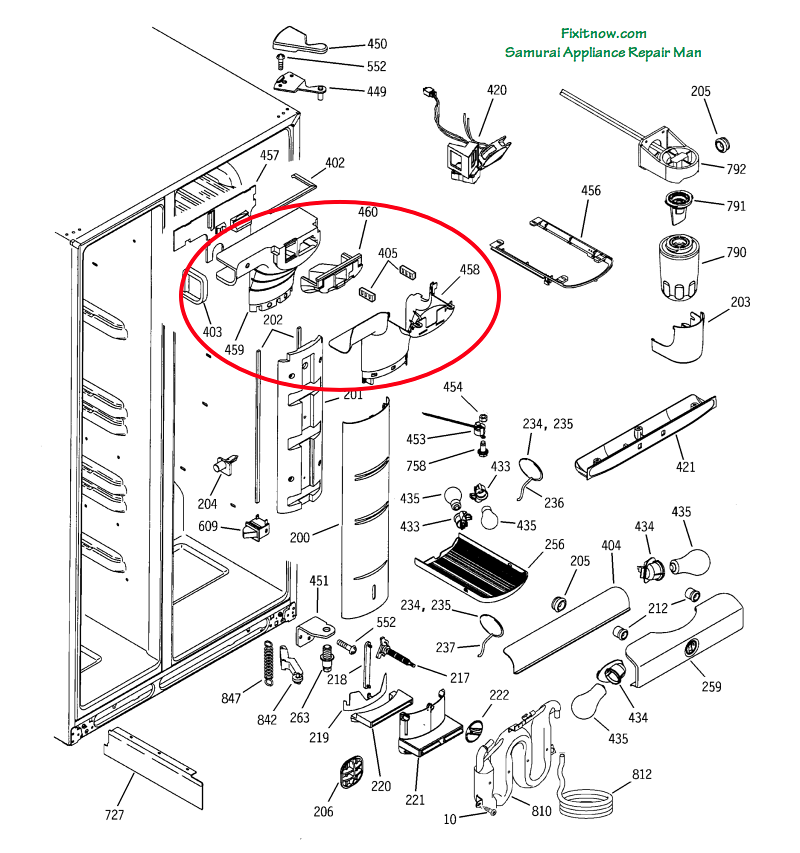 GE Profile PSS25 Fridge Breakdown Diagram with Damper Assembly Circled
