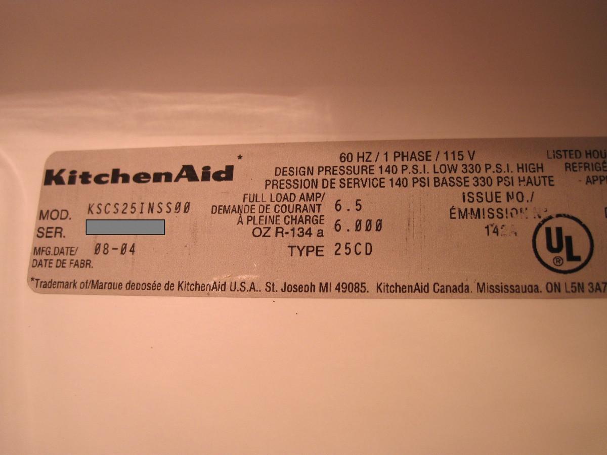 Kitchenaid Refrigerator Model Number Tag