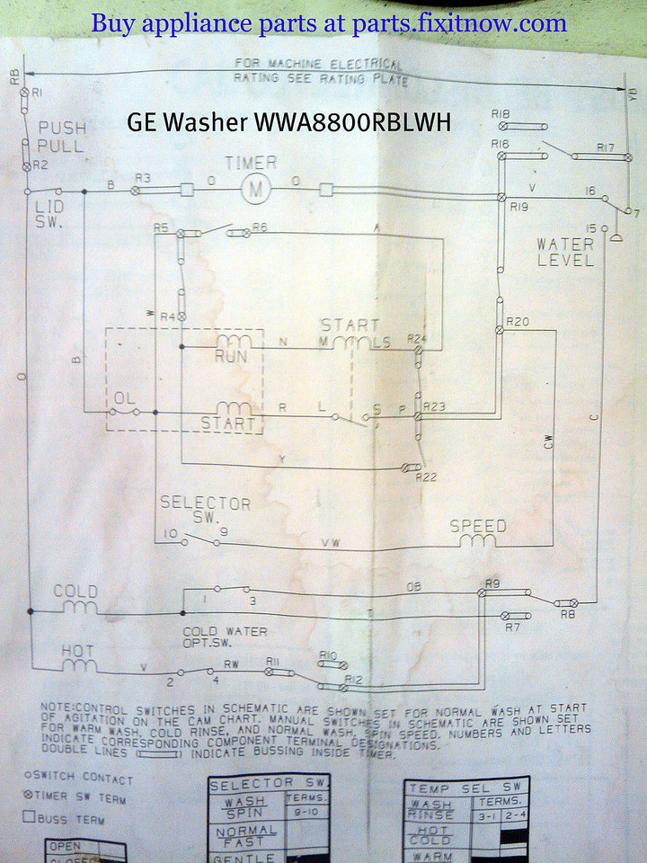 GE Washer WWA8800RBLWH Schematic