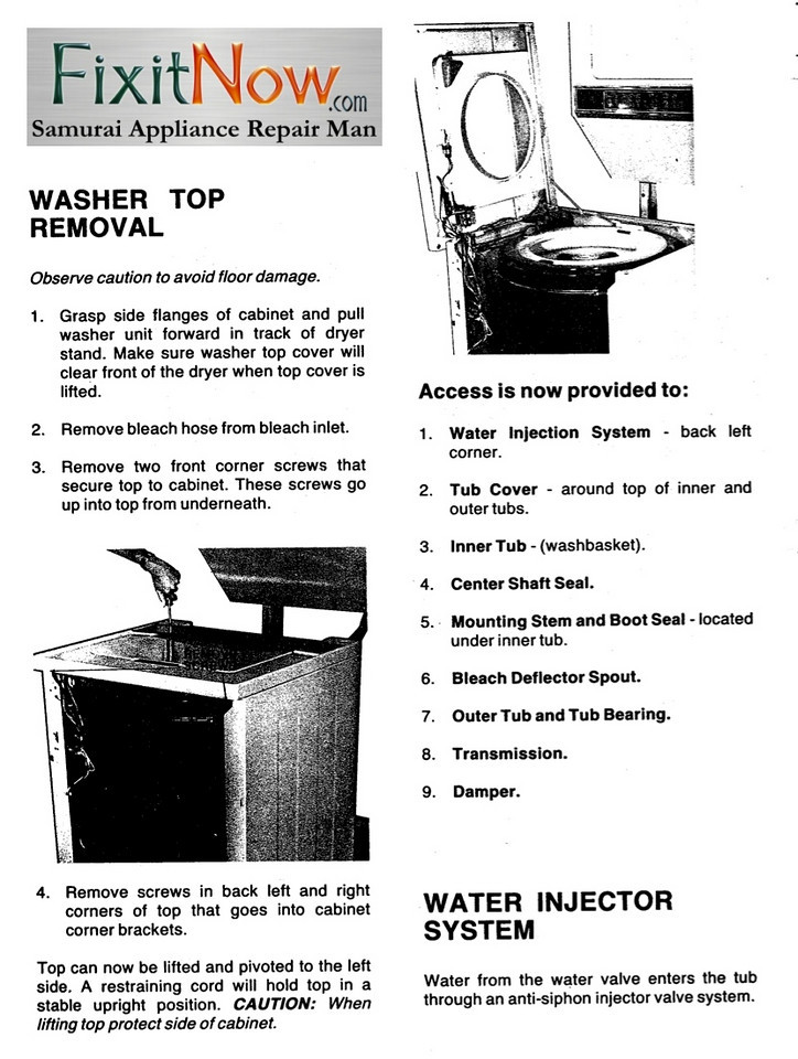 Maytag Stack Laundry Washer Top Removal