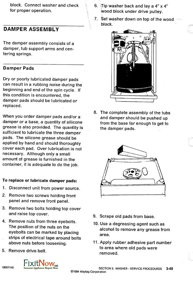 Maytag Dependable Care Washer Damper Pad Installation Instructions 1 of 2
