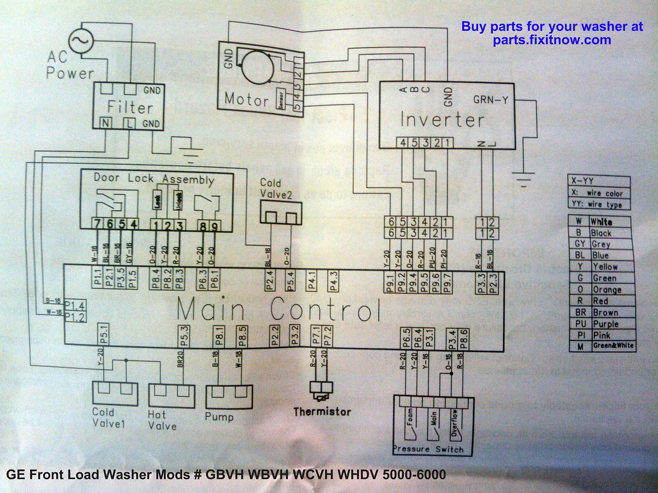 GE Front Load Washer Mods # GBVH WBVH WCVH WHDV 5000-6000