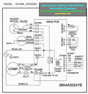 wiring diagrams and schematics appliantology kenmore lg goldstar 580 54351501 dehumidifier schematic
