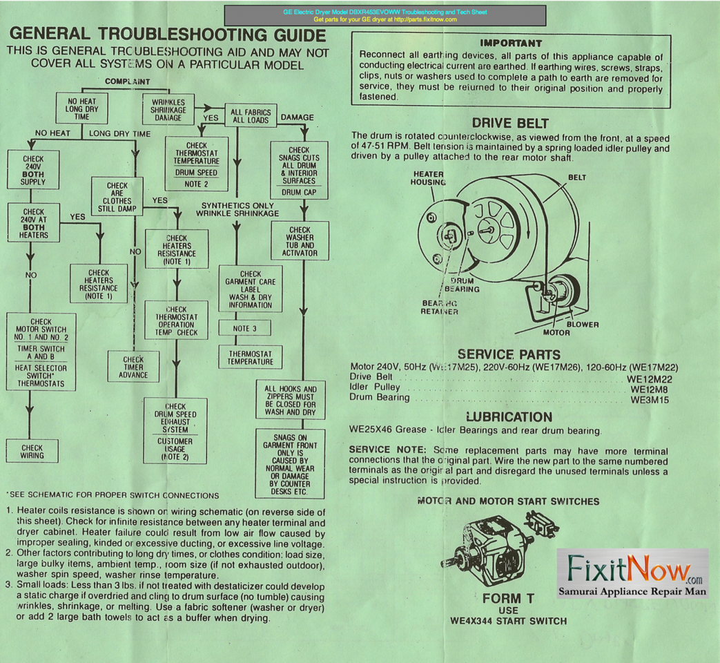 Frigidaire Refrigerator Model FRT21TNGW1 Wiring Diagram. GE Electric Dryer  Model DBXR453EVOWW Troubleshooting and Tech Sheet