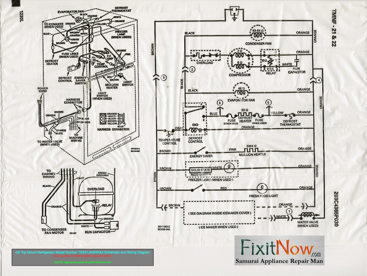 Ge Refrigerator Wiring Schematic Detailed Schematics Diagram Diagrams And Appliantology Summit