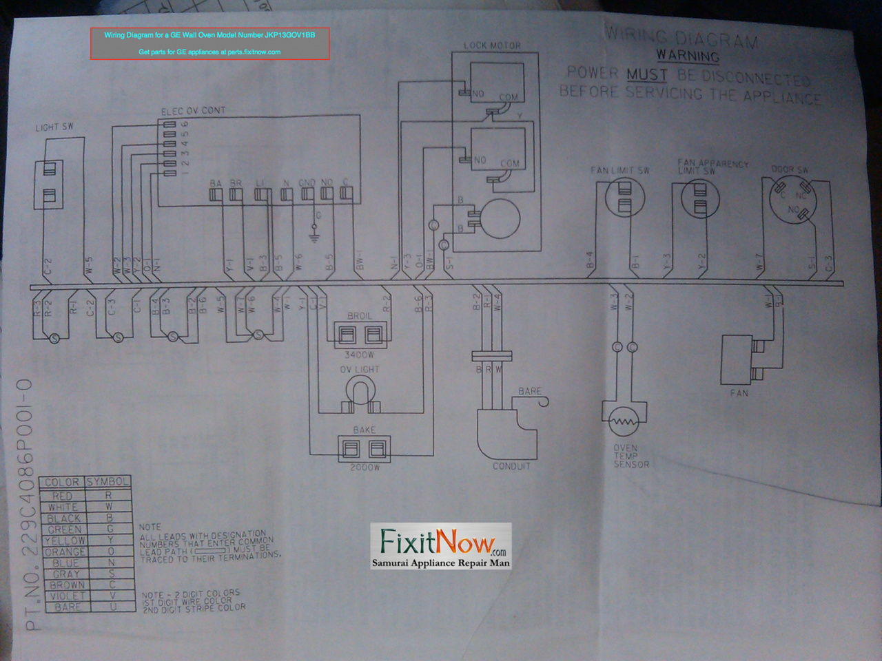 wiring diagram for a ge wall oven model number jkp13gov1bb