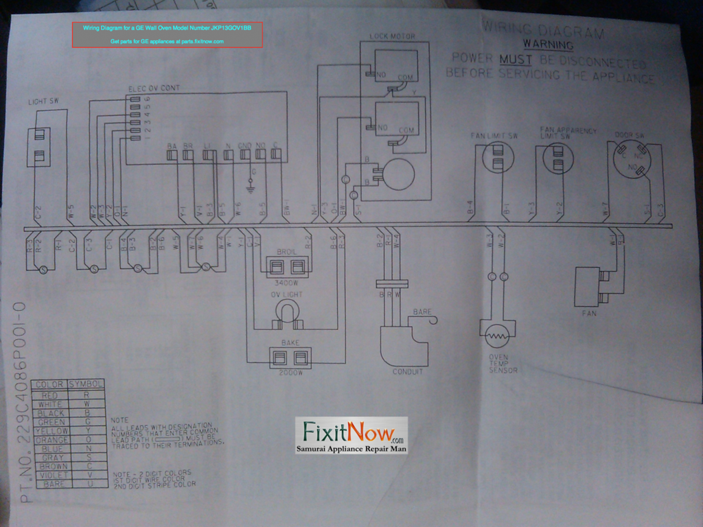 Wiring Diagram for a GE Wall Oven Model Number JKP13GOV1BB & Wiring Diagrams and Schematics - appliantology jdmop.com
