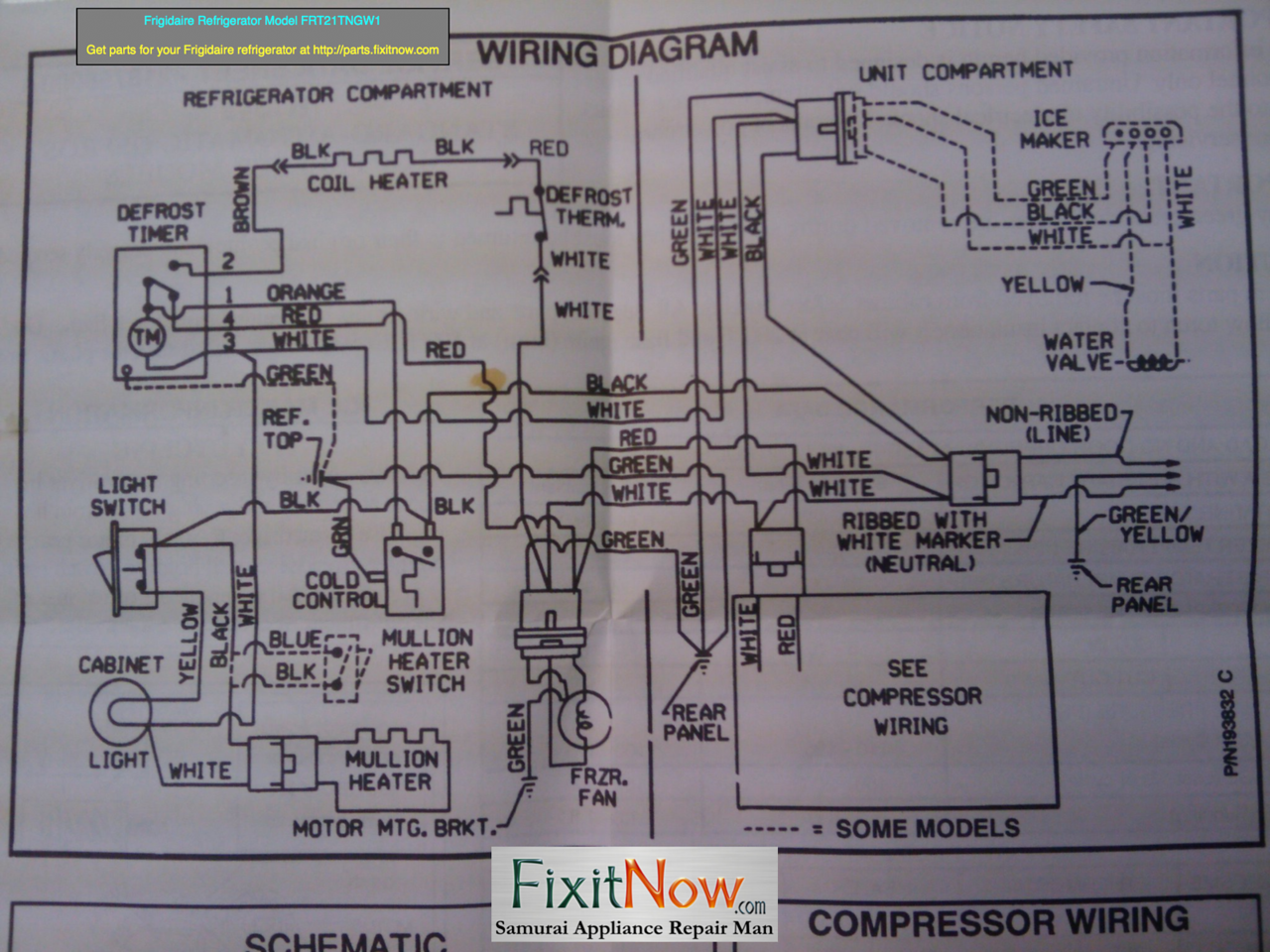 Wiring Diagrams And Schematics Appliantology Commercial Compressor Frigidaire Refrigerator Model Frt21tngw1 Diagram