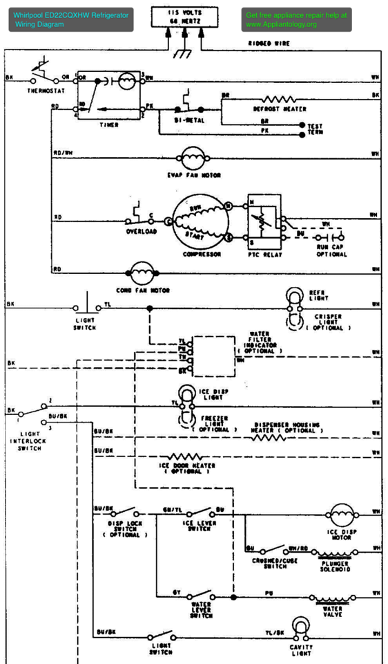 Wiring diagrams and schematics appliantology whirlpool ed22cqxhw refrigerator wiring diagram publicscrutiny Choice Image