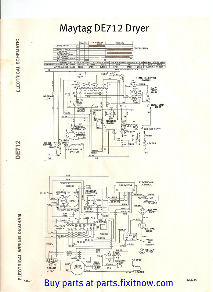Maytag DE712 Dryer Wiring Diagram and Schematic