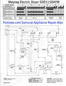 Maytag Electric Dryer Model SDE515DAYW Schematic Diagram
