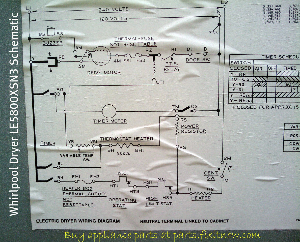 Whirlpool Dryer LE5800XSN3 Schematic