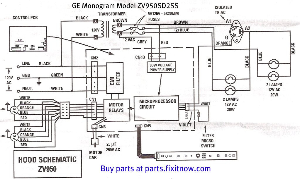 GE Monogram Vent Hood Model ZV950SD2SS Schematic