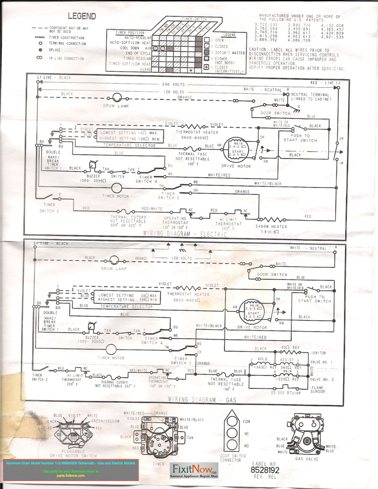 wiring diagrams and schematics appliantology kenmore dryer model number 110 66662500 schematic gas and electric models