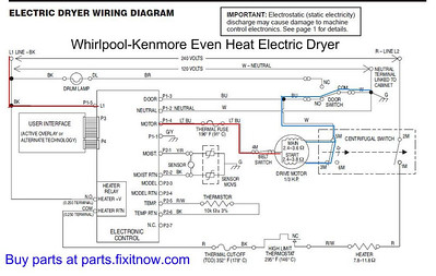 Whirlpool-Kenmore Even Heat Dryer Schematic Diagram with Motor Power Circuit Highlighted