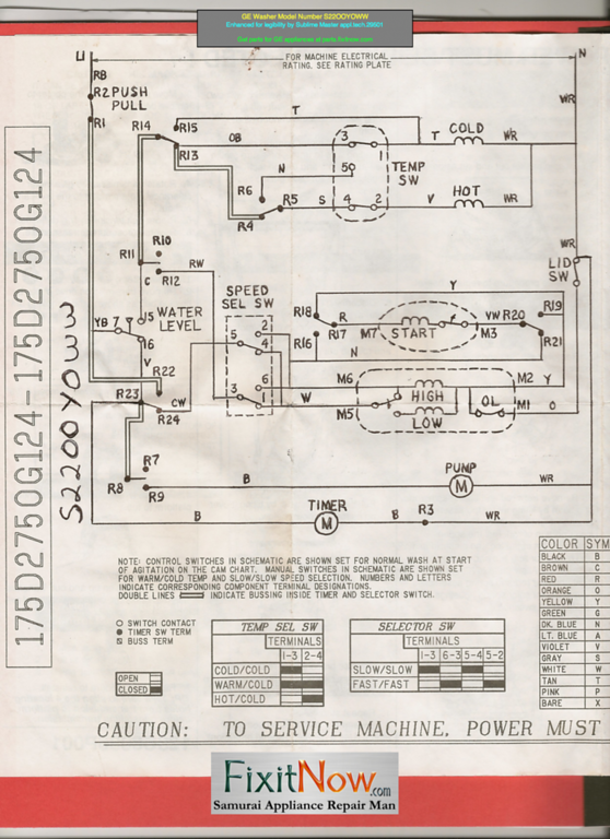 wiring diagrams and schematics appliantologyge washer model number s22ooyoww schematic