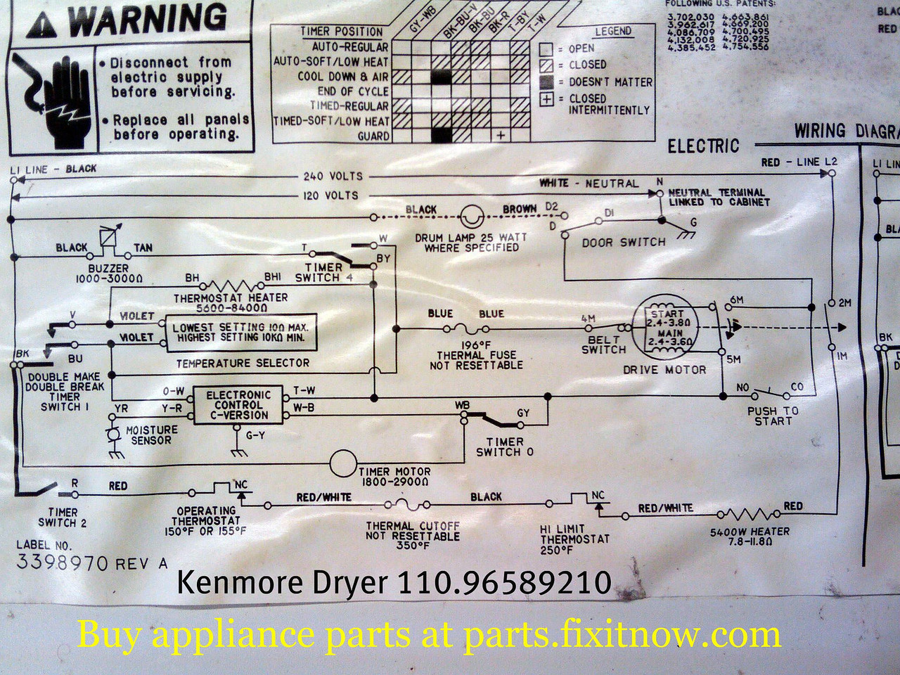 Wiring diagrams and schematics appliantology kenmore dryer 11096589210 schematic cheapraybanclubmaster Gallery