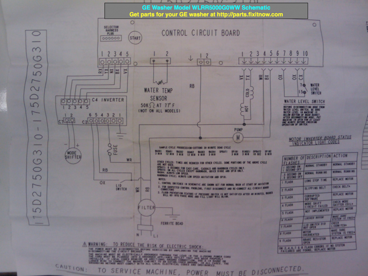 GE Washer Model WLRR5000G0WW Schematic