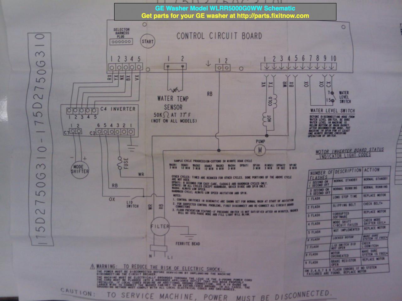 wiring diagrams and schematics appliantology ge washer model wlrr5000g0ww schematic