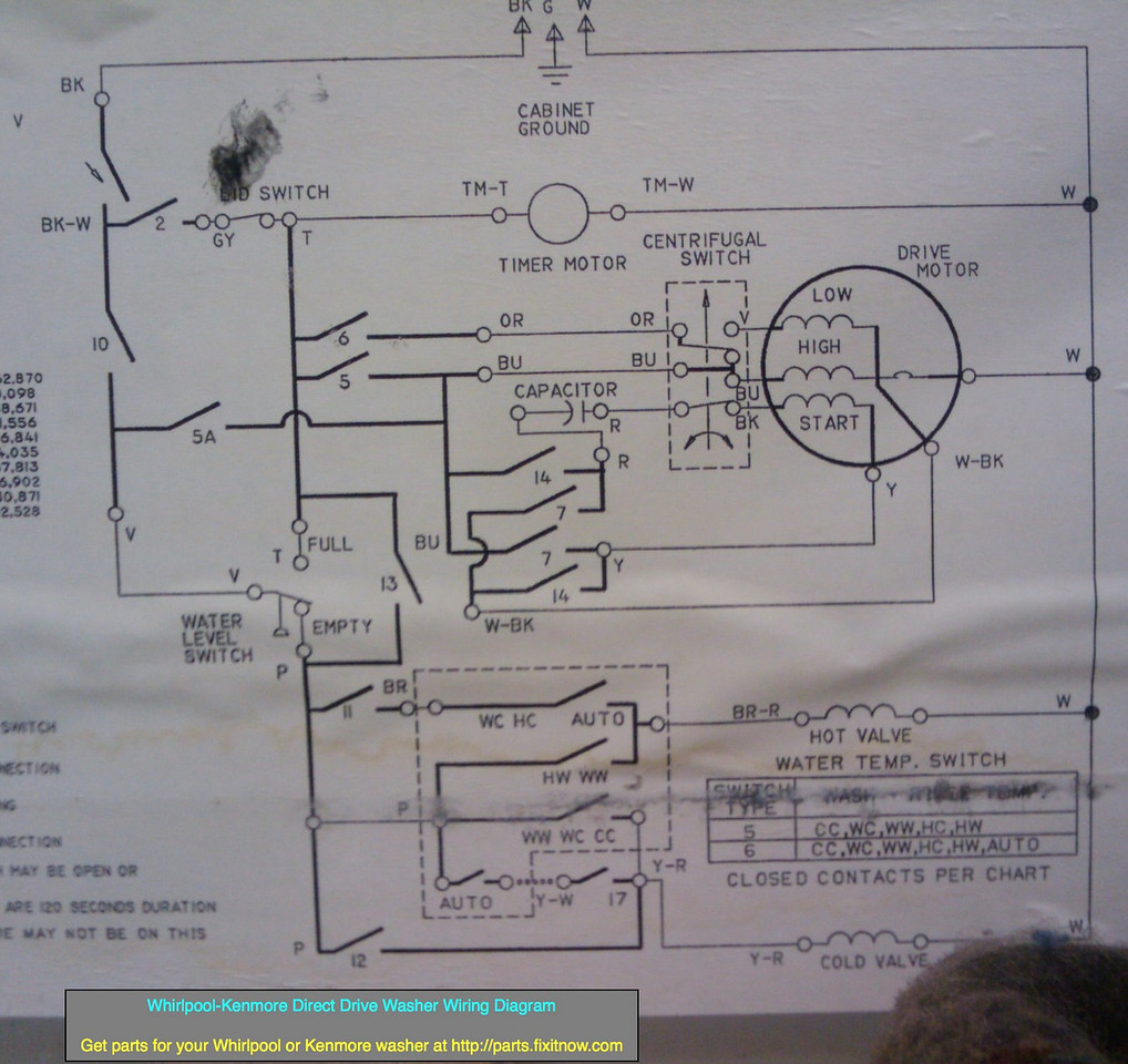Wiring Diagrams And Schematics Appliantology Temp Switch Diagram Whirlpool Kenmore Direct Drive Washer