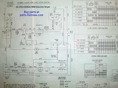 GE DX4500EA1WW Electric Dryer Schematic