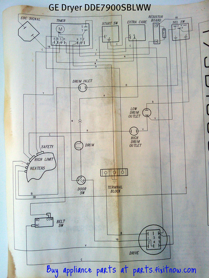 GE Dryer DDE7900SBLWW Wiring Diagram