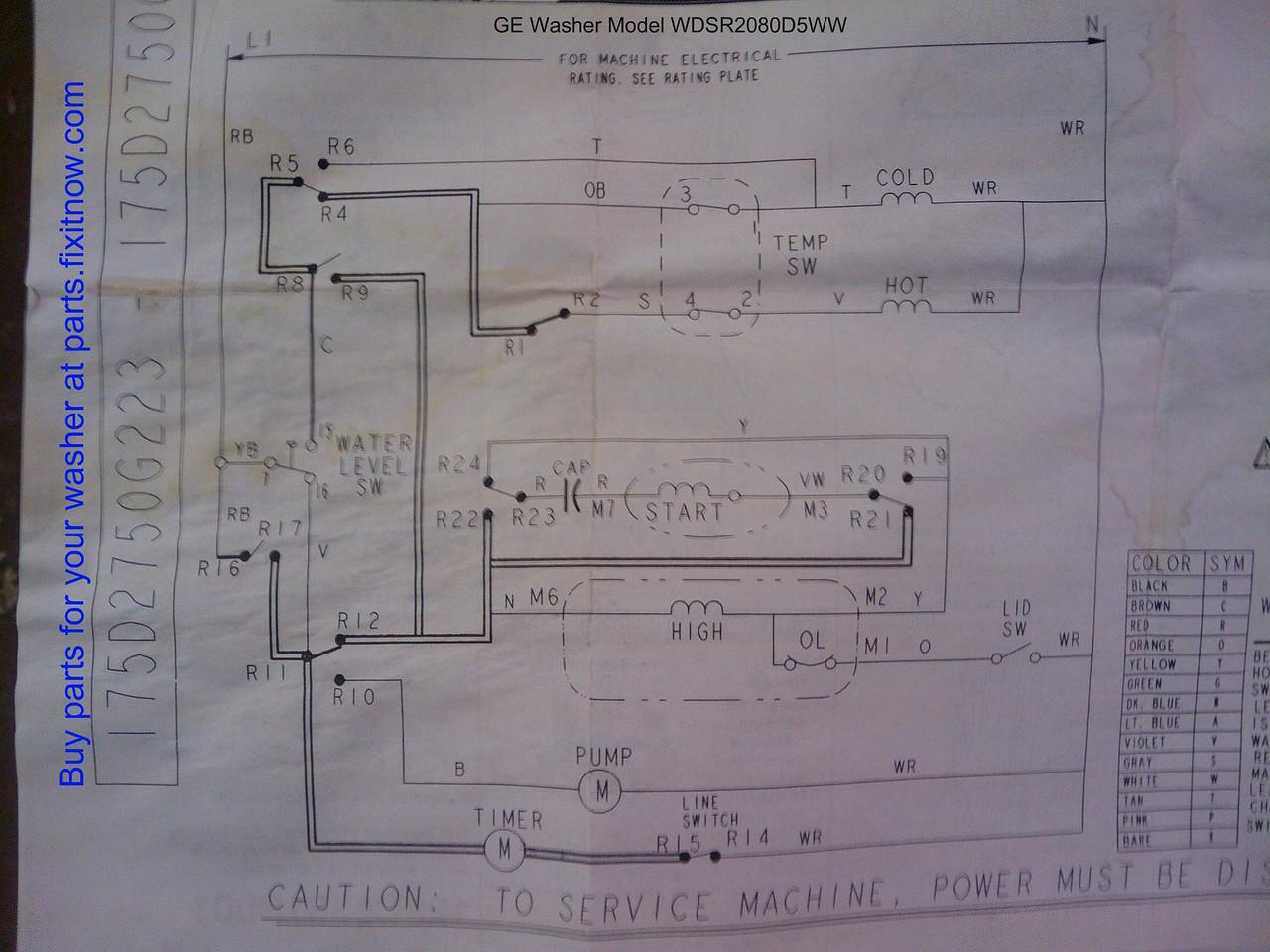 GE washer Mod# WDSR2080D5WW Schematic