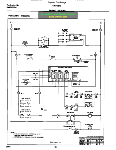 wiring diagrams and schematics appliantologytappan gas range tgf362bbba wiring diagram