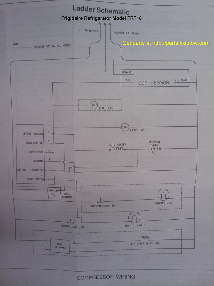 Frigidaire Refrigerator Model FRT18 Schematic
