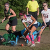 Lily Gendron battles to get the ball past Bishop Feehan goalie Jessica Reis.