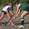 Lily Gendron battles for ball control with Bishop Feehan's Anna Shaughnessy.