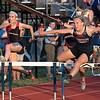 Apponequet's Caitlin Sardelis gets in front of ORR's Rachel Demmer near the finish of the 100 meter hurdle