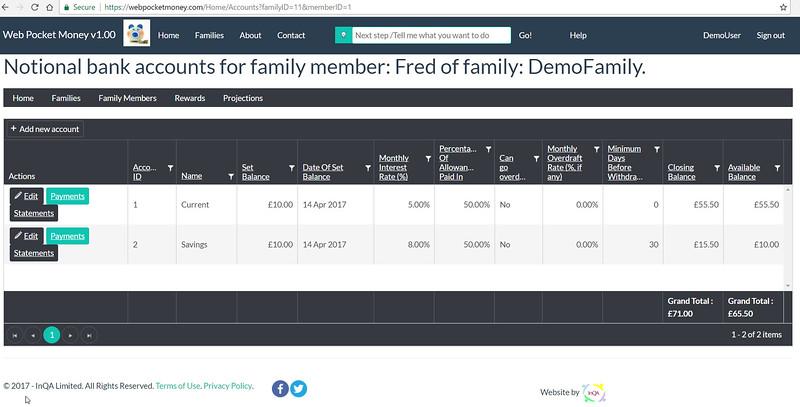 WebPocketMoney Demo Family Member Fred's Accounts