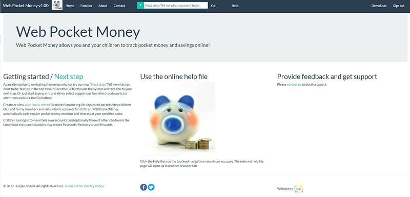 WebPocketMoney Home Demo User Logged In