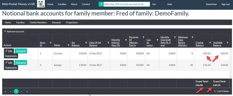 WebPocketMoney Fred Revised Balances After Payment