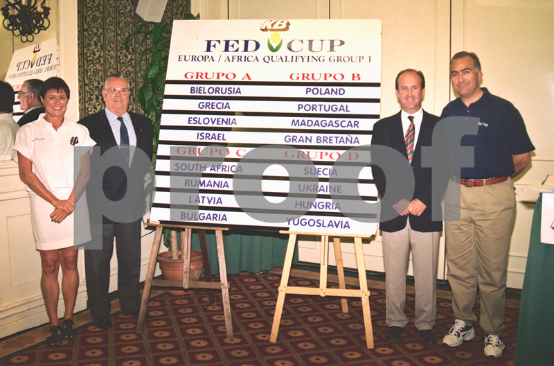 Lorenzo Martinez and Alison Sowersby at the Fed Cup Draw, La Manga Club, April 1998